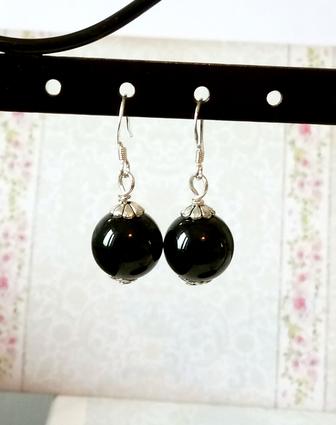 Boucles d'oreilles Pierre Onyx noire boules 11mm / argent 925 - Black onyx sterling silver earrings