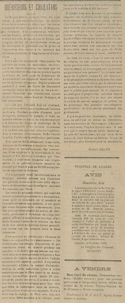 Guérisseurs et charlatans (Le Mémorial de Lombez, 7 juillet 1912)