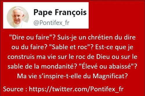 """Tweet du Pape: """"Dire ou faire""""?"""