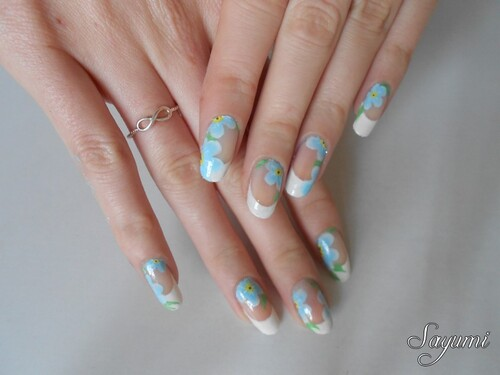 Nail Art Myosotis - Forget-me-not