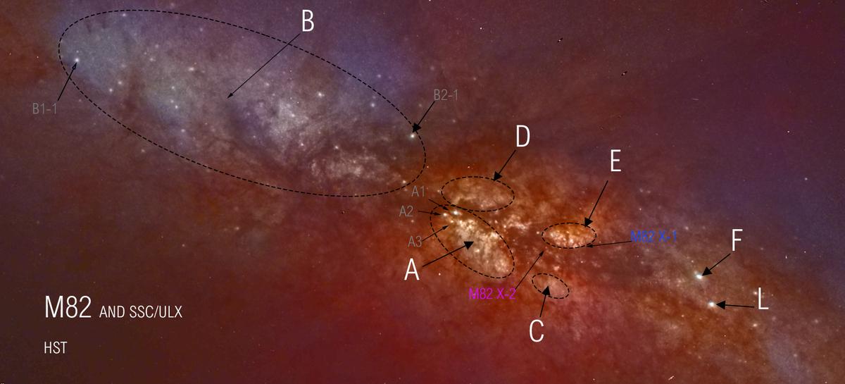 M82, Infrarouge et couleur, A la recherche des amas stellaires du coeur
