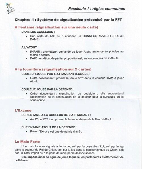 Régles de signalisation préconisées par la Fédération Française de Tarot