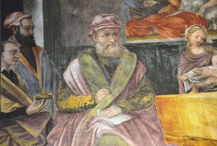 Un notaire (fresque de l'église San Maurizio. Milan)
