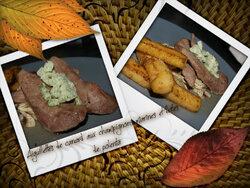 aiguillettes de canard aux champignons marinés et frites de Polenta