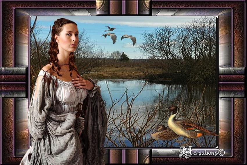 Albertine au bord de l'étang