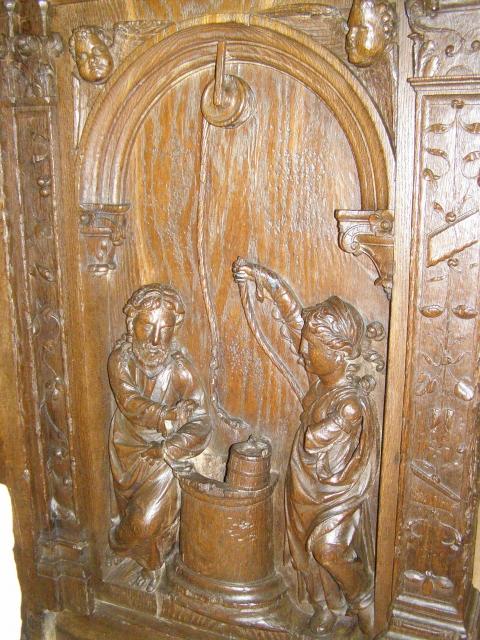 Fig.7 - Stalles de la collégiale de Montréal (Yonne): Le Christ et la Samaritaine auprès d'un puits