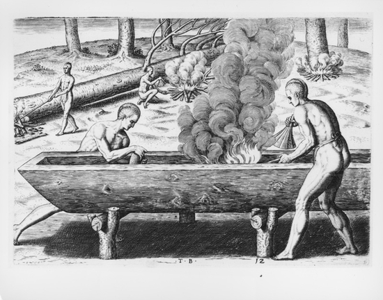 The manner of making their boates by Theodor de Bry after a John White watercolor. Native Americans