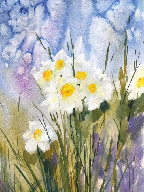 Dessin et peinture - vidéo 3109 : Les jonquilles, fleurs de saison - aquarelle et gouache.