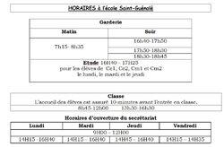 Les horaires de l'école