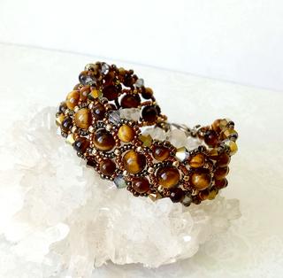 Bracelet tissé Pierre oeil du tigre et cristal de Swarovski  / Métal doré sur laiton