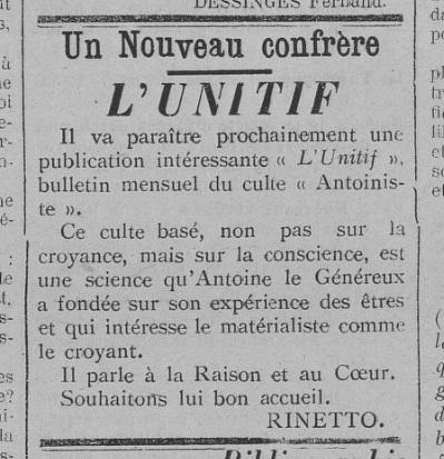 L'Unitif, encart de publication (Le Fraterniste, 20 juillet 1911)