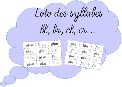 Loto des syllabes bl, br, cl, cr...