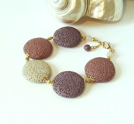 Bracelet Pierre de Lave teintée Rose, Prune, Ivoire, lentilles 25mm / métal doré et plaqué or