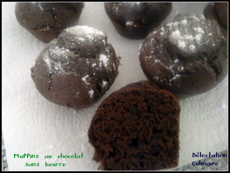 Muffins au chocolat moelleux (délicieux),  sans beurre