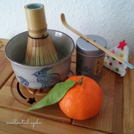 Chawan usagi et mandarine noel
