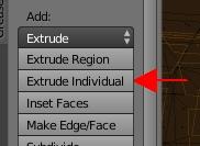 Cliquer sur le bouton Extrude Individual