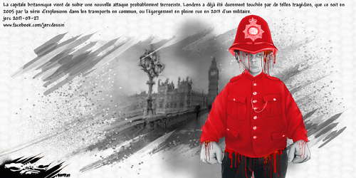dessin de JERC lundi 27 mars 2017 caricature hommage attentat Londres hommage aux victimes des oppressions. www.facebook.com/jercdessin