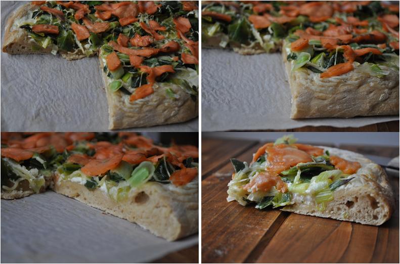 Pizza blanche aux poireaux et saumon fumé