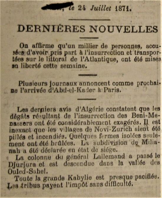Une autre guerre en 1870, la guerre d'Algérie