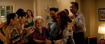 "(L-r) DAPHNE RUBIN-VEGA as Daniela, STEPHANIE BEATRIZ as Carla, MELISSA BARRERA as Vanessa, OLGA MEREDIZ as Abuela Claudia, GREGORY DIAZ IV as Sonny, DASCHA POLANCO as Cuca and JIMMY SMITS as Kevin Rosario in ""IN THE HEIGHTS"""