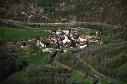 Liste et vue aérienne des paroisses du groupement paroissial