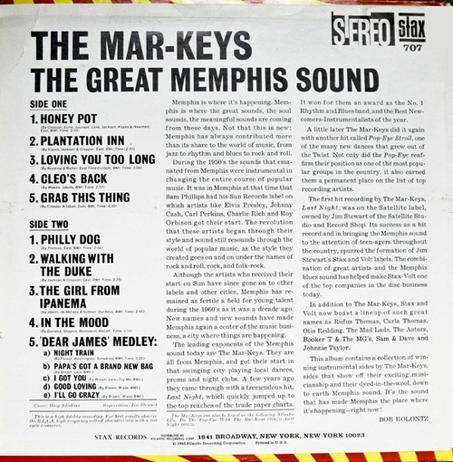 "The Mar-Keys : Album "" The Great Memphis Sound "" Stax Records SD 707 [ US ]"