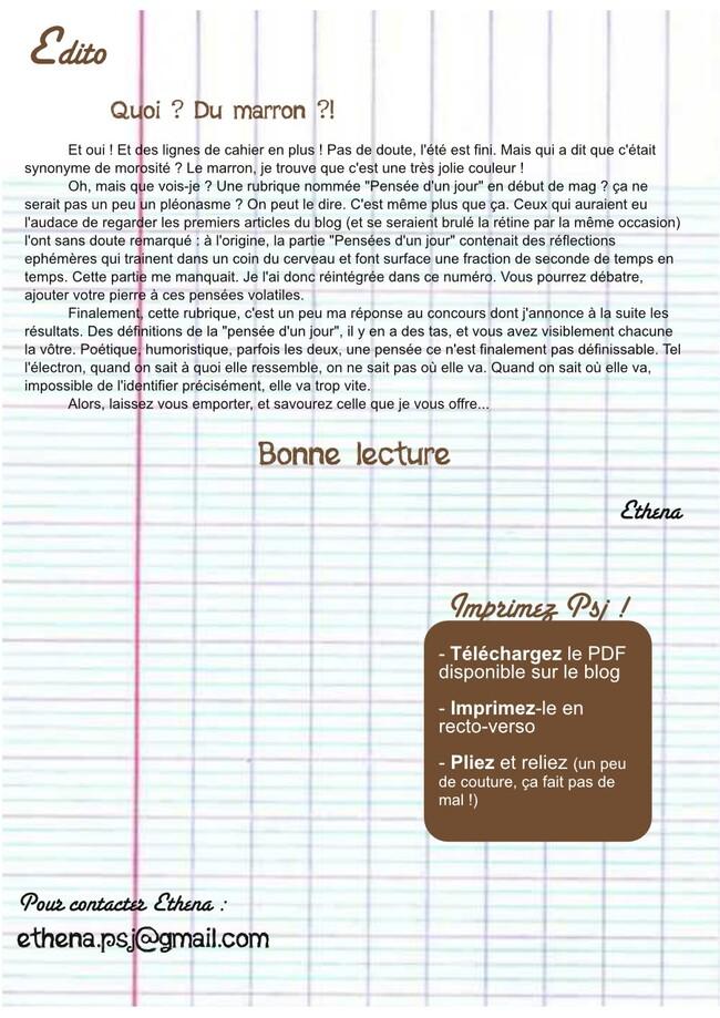 Pensées d'un jour n°24 - Couverture, Édito et sommaire