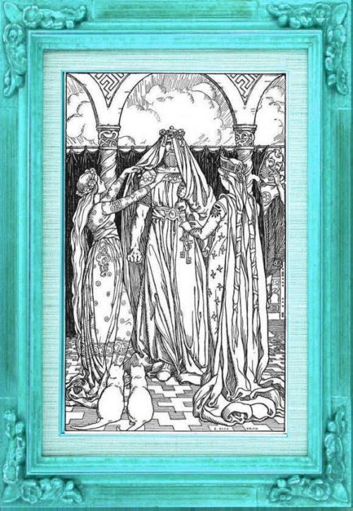 Freya et Idunn déguisent Thor, ce qui fait rire Loki. E. Boyd Smith