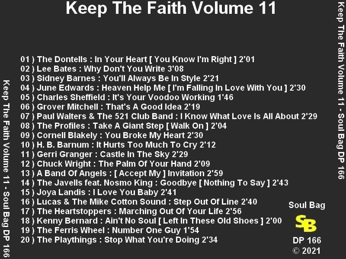 """Various Artists : CD """" Keep The Faith Volume 11 """" Soul Bag Records DP 166 [ FR ]"""