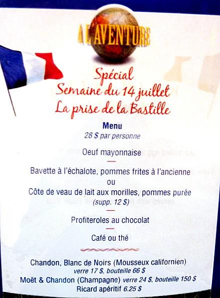 Montréal menu 14 juillet