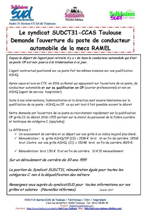 Mecs Ramel  CCAS de Toulouse ouverture du poste  de chauffeur