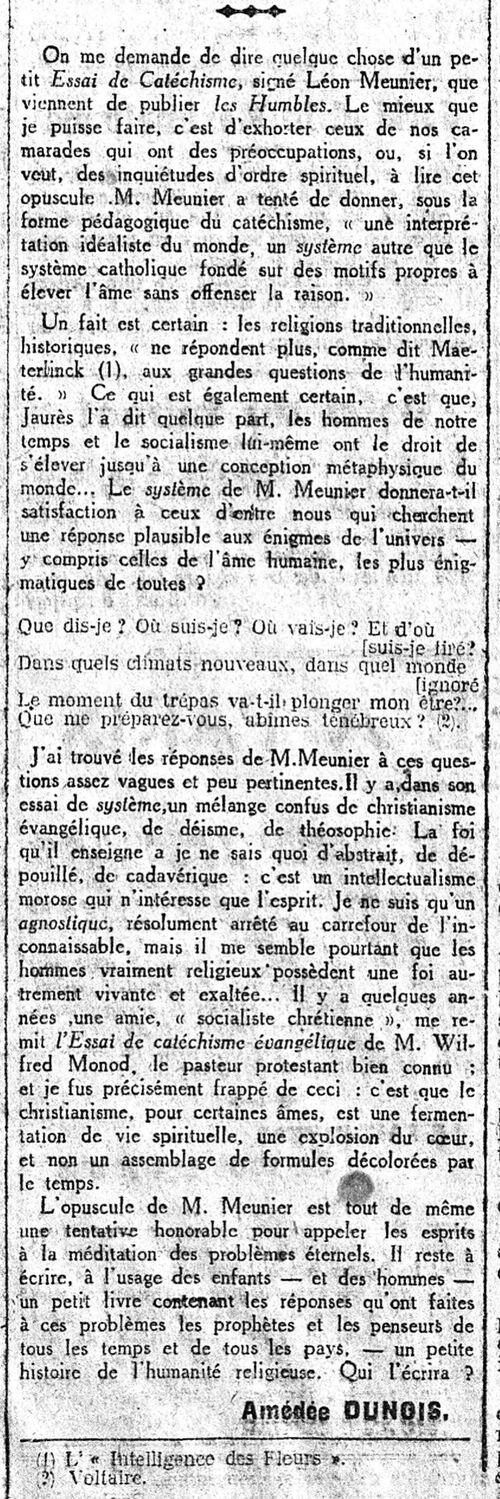 Léon Meunier - Essai de Catéchisme  (Le Populaire 15 sept 1918)