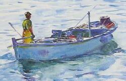 Dessin et peinture - vidéo 1933 : Scènes de la vie courante : Le retour de la pêche et le marché flottant - peintures à l'aquarelle.