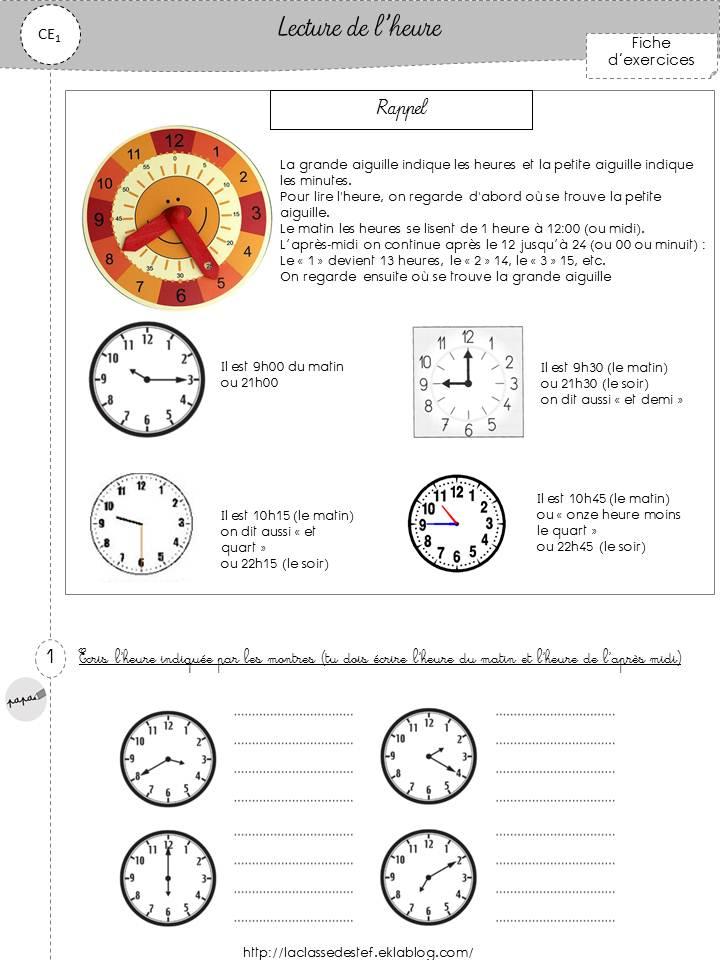 Très fiche d'exercices lire l'heure - la classe de stefany OZ35