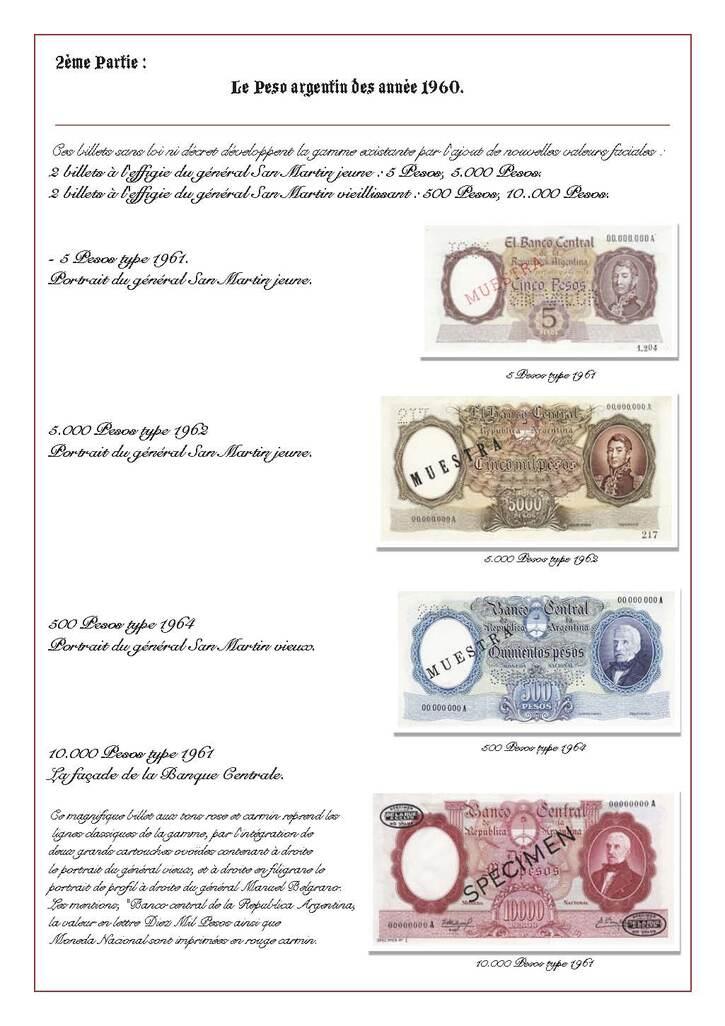 Histoire:  L'Argentine à travers la monnaie - Le Général José de San Martin - Philippe (2e version)