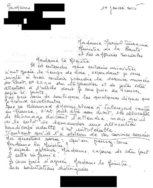 Lettre Marisol Touraine Mohamed el-Ayouni