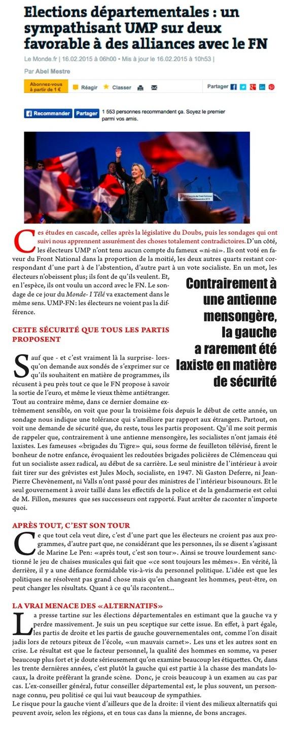 FN-UMP: LES PARADOXES DES SONDAGES