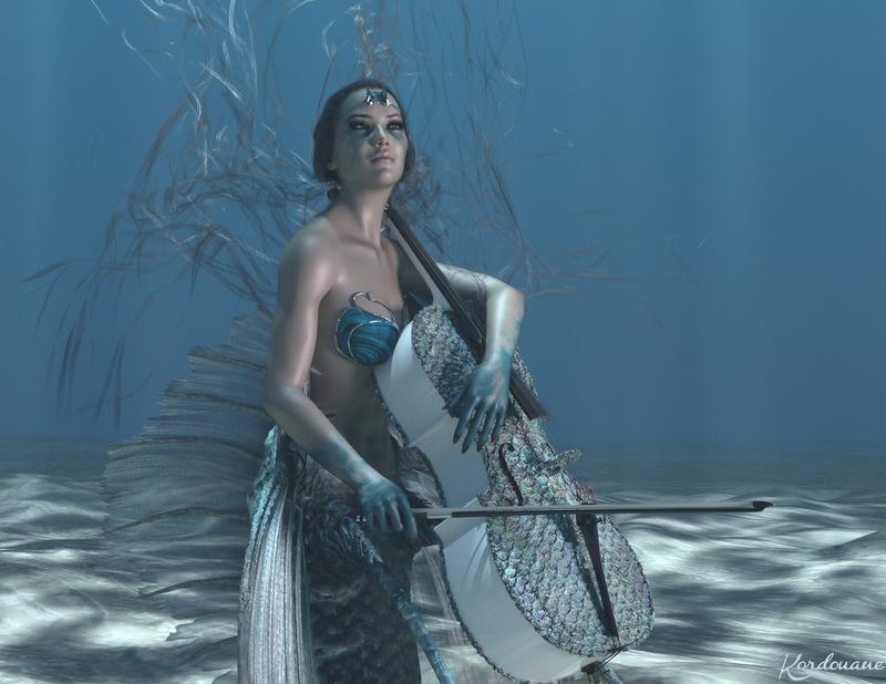 Fond d'écran : Sirène violoncelliste (DazStudio)