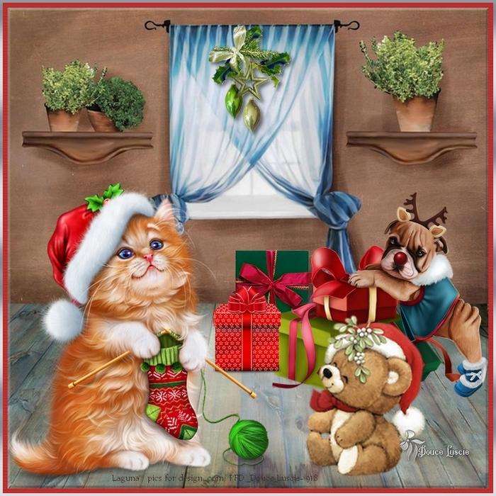 Santa Kitty Knitting