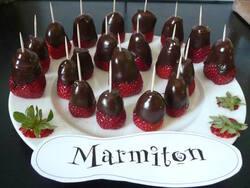 Sucette de fraise aux chocolat
