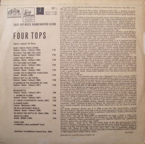 "The Four Tops : Album "" The Four Tops "" Supraphon Records 1 13 0807 [ CZ ]"