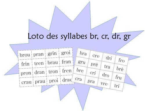 "Loto des syllabes ""br, cr, dr..."""