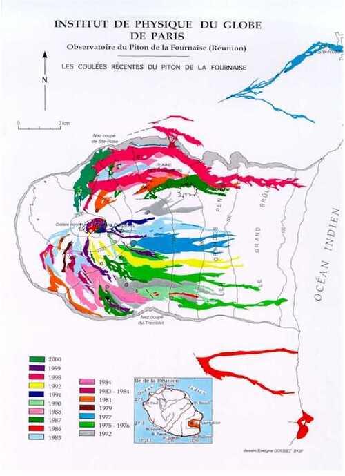 Les éruptions du Piton de la Fournaise...carte