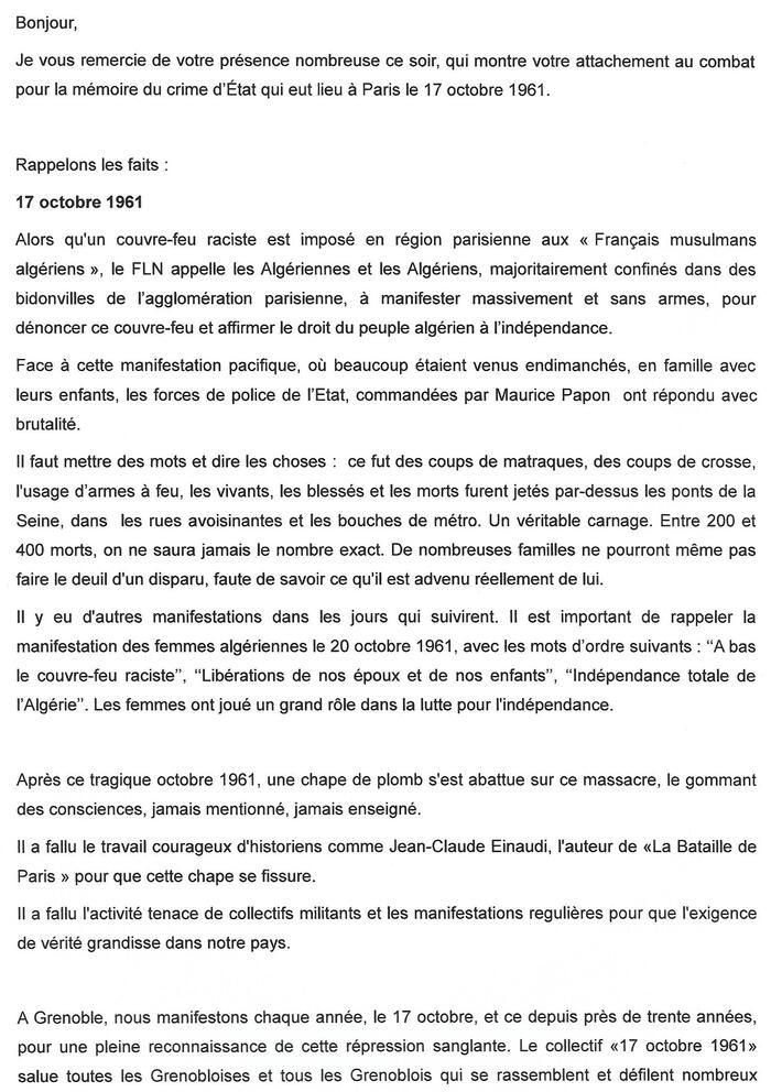 Algérie au coeur : 17 octobre 1961   à Grenoble