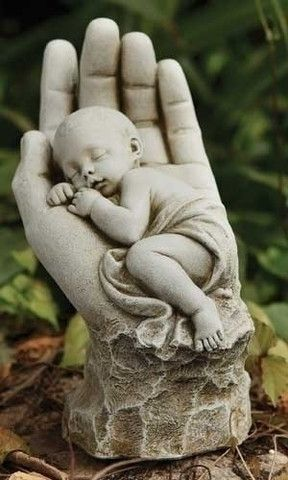In The Palm of Gods Hand Memorial Miscarriage Baby Statue Garden or Gr – Beattitudes Religious Gifts