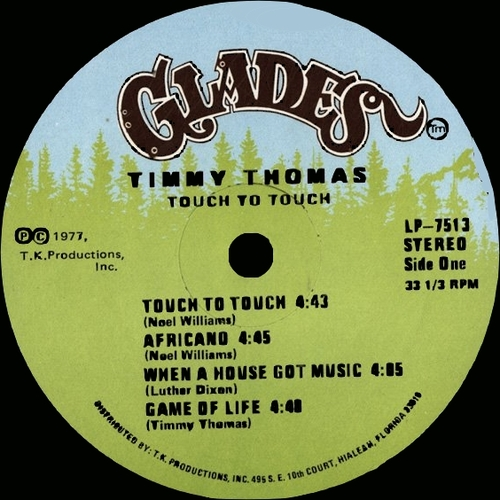 "Timmy Thomas : Album "" Touch To Touch "" Glades Records LP-7513 [ US ]"
