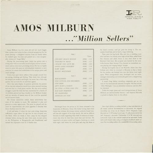 "Amos Milburn : Album "" Million Sellers "" Imperial Records LP-9176-A [ US ]"
