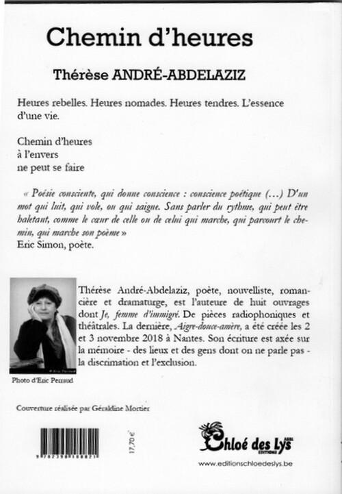 Prochaine sortie aux éditions Chloé des Lys : Chemin d'heures de Thérèse André-Abdelaziz