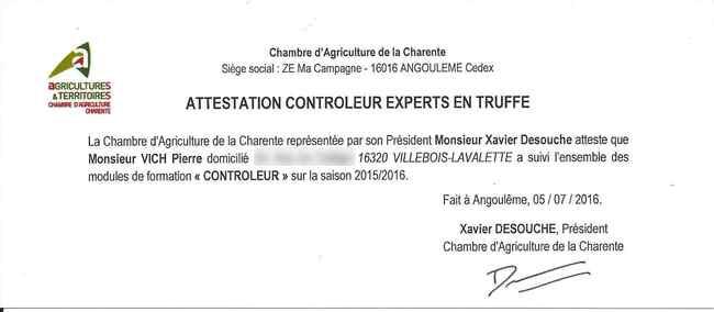 Un nouveau contrôleur truffier à Villebois.