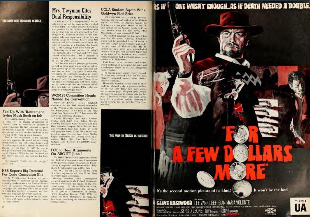 FOR A FEW DOLLARS MORE ...ET POUR QUELQUES DOLLARS DE PLUS box office france 1967